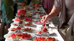 Tomato exhibition and Tomato tasting Stock Footage