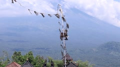 Volcano Agung, Bali, Indonesia. Balinese religion place Stock Footage