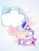 Gramophone on abstract floral background Piirros
