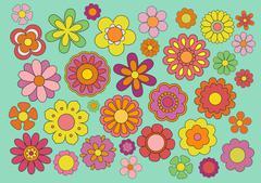 Sixties flowers Stock Illustration