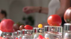 Tomato exhibition of rare and colorful tomatoes Stock Footage