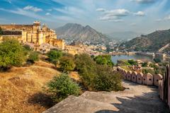 View of Amer (Amber) fort, Rajasthan, India Stock Photos