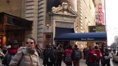 Booth Theatre and Crowd New York Stock Footage