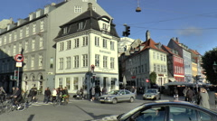 Busy Road Junction in Canal District of Copenhagen Stock Footage