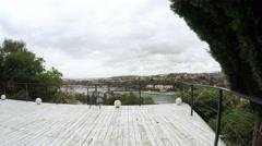 Panorama veranda cafe with views of the South Bay Stock Footage