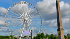 4K Roue de Paris, Big Paris Ferris Wheel, Place de la Concorde Stock Footage
