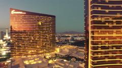 4k aerial view Las Vegas strip going up wynn hotel night Stock Footage