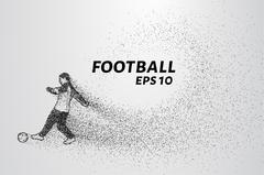 Football of the particles. Football is of little circles. A football player s Stock Illustration