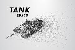 The tank of particles. The tank crumbles into small molecules. Stock Illustration