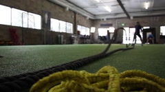 Battle Rope work in Gym Stock Footage