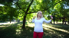 Pleasing Girl Preparing Become Mother Went Out For Stroll and Relax on Sunny Stock Footage