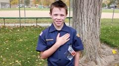 Patriotic boy scout HD  Stock Footage