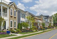 Street of New Luxury Home Construction Stock Photos