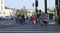 Tourists crossing the road in Hollywood Boulevard Stock Footage