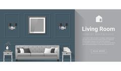 Interior design Modern living room background Stock Illustration