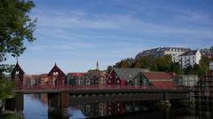 Timelapse of Old Town Bridge in Trondheim, Norway Stock Footage