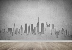 City design on wall Stock Photos