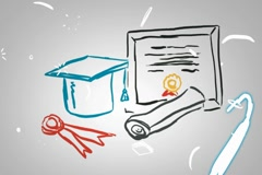 Graduation and medals - Animation - outline - White Background Stock Footage