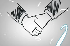 Hand Shake - Animation - outline - White Background Arkistovideo
