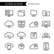 Internet cloud and data storage thin line icons Stock Illustration