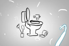 Toilet - Hand drawn - Animation - outline - White Background Stock Footage