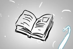 Book - Animation - outline - White Background Stock Footage