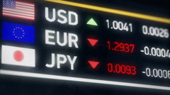 Japanese Yen, US dollar, Euro comparison, currencies falling, financial crisis Stock Footage