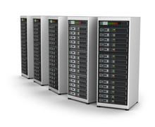 Row of network servers in data center isolated on white Piirros