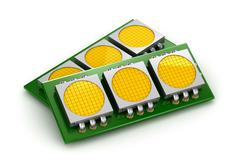 LED chip panels over white, 3D illustration Stock Illustration