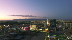 4k aerial view Las Vegas downtown flyby close wynn hotel Stock Footage