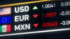 Mexican Peso, US dollar, Euro comparison, currencies falling, financial crisis Stock Footage