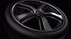 Tire Wheel Aluminum Metal Loop Animation Rotation Front View - With Alpha Cha Stock Footage