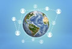 Planet Earth enveloped by social network icons connected with dotted lines Stock Photos