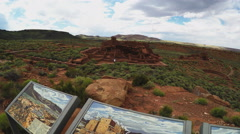 Information Board Tilt To Wupatki Native American Indian Ruins Stock Footage