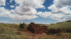 Lomaki American Indian Ruins Tilt To Sky- Wupatki National Monument Stock Footage