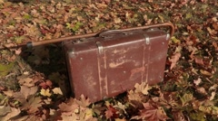 Old suitcase with walking stick on autumn leaves Stock Footage
