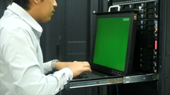 Administrator working in data center Stock Footage