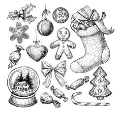 Christmas object set. Hand drawn vector illustration. Xmas icons Stock Illustration