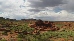 Native American Indian Ruins Zoom In- Wupatki National Monument Stock Footage