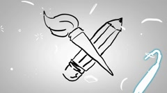 Brush and pencil - Animation - outline - White Background - HD Stock Footage