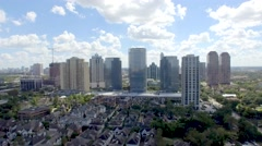 Aerial view of Office buildings and high rise condos in Houston uptown area Stock Footage