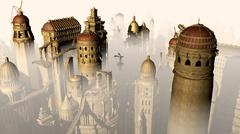 Fantasy 3D city form past to future Stock Illustration