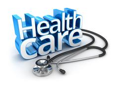 Health Care text, 3d Concept Stock Illustration