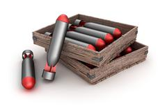 Torpedoes in the box over white background Stock Illustration