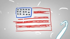 American Flag - Animation - outline - White Background - HD Stock Footage
