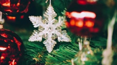 Red Christmas ball and Snowflake Stock Footage