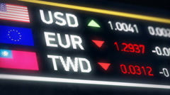Taiwan dollar, US dollar, Euro comparison, currencies falling, financial crisis Stock Footage