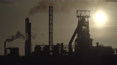 Port Talbot Steelworks Handheld Stock Footage