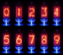 The real Nixie tube indicator a set of decimal digits Stock Photos