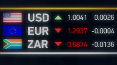 South African Rand, Euro falling compared to US dollar, financial crisis Stock Footage